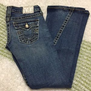 True Religion size 24 length 30, distressed wash.